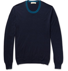 Burberry London Contrast-Trimmed Silk and Cotton-Blend Sweater