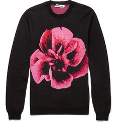 McQ Alexander McQueen - Rose-Intarsia Wool and Cotton-Blend Sweater