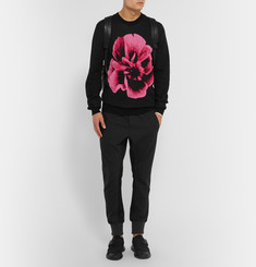 McQ Alexander McQueen Rose-Intarsia Wool and Cotton-Blend Sweater