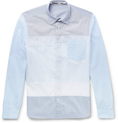 McQ Alexander McQueen - Slim-Fit Panelled Striped Cotton Shirt