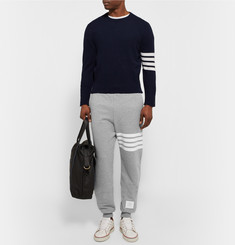 Thom Browne - Tapered Striped Loopback Cotton-Jersey Sweatpants