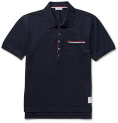 Thom Browne Slim-Fit Stripe-Trimmed Cotton-Piqué Polo Shirt