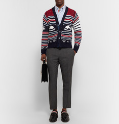 Thom Browne Intarsia Cotton, Wool and Mohair-Blend Cardigan