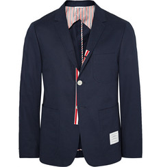 Thom Browne Midnight-Blue Slim-Fit Cotton-Twill Blazer
