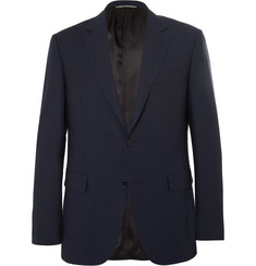 Canali Navy Water-Resistant Wool-Birdseye Travel Blazer