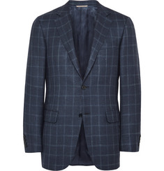 Canali Navy Checked Wool, Silk and Linen-Blend Blazer