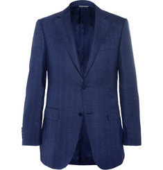 Canali Blue Slim-Fit Herringbone Suit Jacket