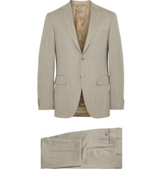 Canali Beige Capri Slub Wool, Silk and Linen-Blend Suit