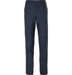 Canali Blue Slim-Fit Birdseye Stretch Wool and Silk-Blend Trousers