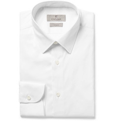 Canali White Slim-Fit Stretch-Cotton Blend Twill Shirt