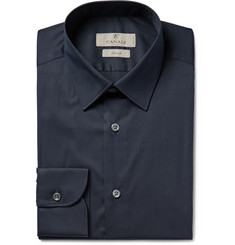 Canali Navy Cotton-Poplin Shirt