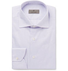 Canali Lilac Bengal-Striped Cotton Shirt