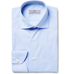 Canali Blue Slim-Fit Micro-Gingham Cotton-Poplin Shirt