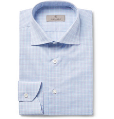Canali Blue Slim-Fit Checked Cotton and Linen-Blend Shirt