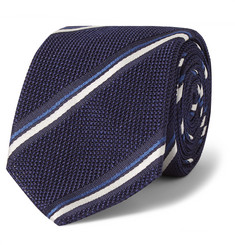 Canali Striped Woven Silk Tie