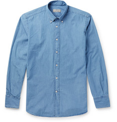 Canali Button-Down Collar Bleached-Denim Shirt
