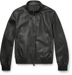 Canali Perforated Leather Bomber Jacket