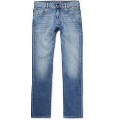 Canali Washed Stretch-Denim Jeans