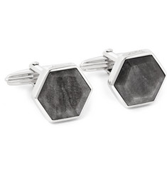 Lanvin Rhodium-Plated Obsidian Cufflinks