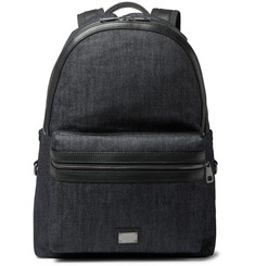 Dolce & Gabbana - Leather-Trimmed Denim Backpack