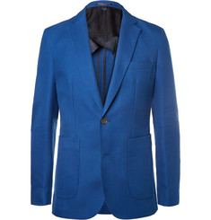 Hardy Amies Blue Slim-Fit Cotton and Virgin Wool-Blend Hopsack Blazer