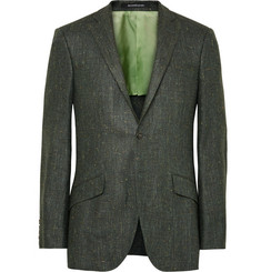 Richard James - Dark-Green Seishin Slim-Fit Slub Silk and Linen-Blend Blazer