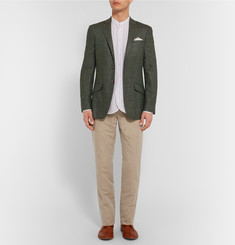 Richard James Dark-Green Seishin Slim-Fit Slub Silk and Linen-Blend Blazer