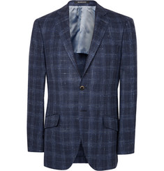 Richard James Blue Seishin Slim-Fit Checked Wool, Silk and Linen-Blend Blazer