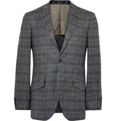 Richard James Seishin Slim-Fit Checked Silk, Linen and Wool-Blend Blazer