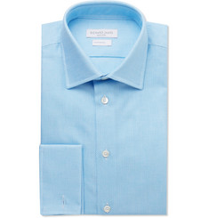 Richard James Blue Slim-Fit Textured Cotton Shirt