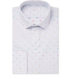 Richard James - Slim-Fit Dot-Embroidered Cotton Shirt