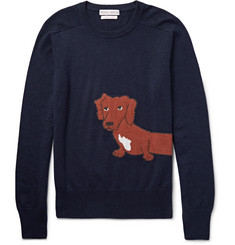 Michael Bastian Slim-Fit Dachshund-Intarsia Cashmere Sweater