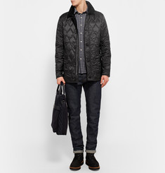 Burberry Brit Gransworth Leather and Corduroy-Trimmed Quilted Shell Jacket