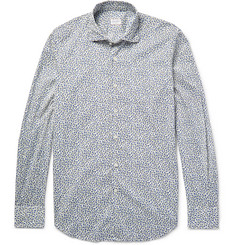 Incotex Slim-Fit Floral-Print Cotton-Poplin Shirt