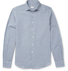 Incotex Slim-Fit Checked Cotton and Linen-Blend Shirt