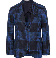 MP Massimo Piombo Blue Slim-Fit Checked Silk and Cotton-Blend Blazer