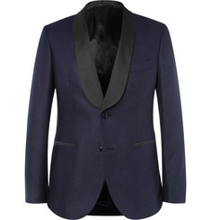 MP Massimo Piombo - Navy Slim-Fit Faille-Trimmed Silk-Jacquard Blazer