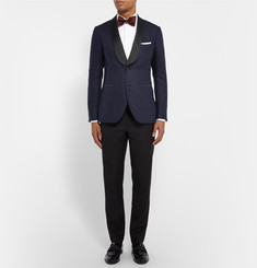 MP Massimo Piombo Navy Slim-Fit Faille-Trimmed Silk-Jacquard Blazer