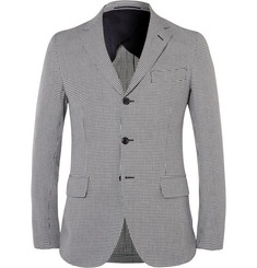 MP Massimo Piombo - Slim-Fit Houndstooth Cotton and Flax-Blend Blazer