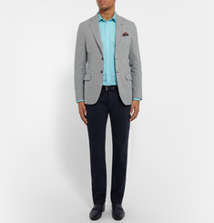 MP Massimo Piombo Slim-Fit Houndstooth Cotton and Flax-Blend Blazer