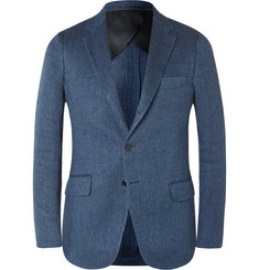 MP Massimo Piombo Blue Slim-Fit Herringbone Linen Blazer