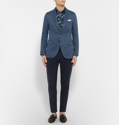 MP Massimo Piombo Blue Slim-Fit Herringbone Flax Blazer