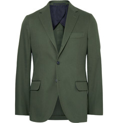 MP Massimo Piombo Green Slim-Fit Cotton-Gabardine Suit Jacket