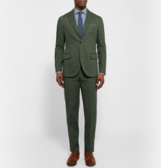 MP Massimo Piombo Green Slim-Fit Cotton-Gabardine Suit Trousers
