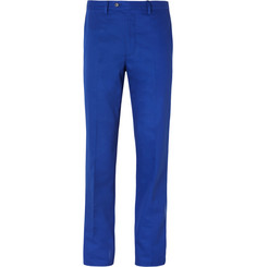 MP Massimo Piombo Blue Cotton-Twill Trousers