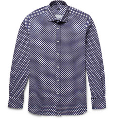 MP Massimo Piombo Polka-Dot Printed Cotton-Poplin Shirt