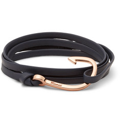 Miansai Leather and Rose Gold-Tone Hook Wrap Bracelet