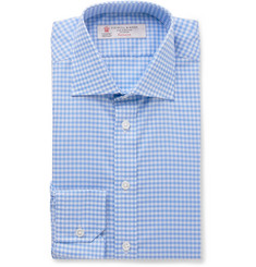 Turnbull & Asser Blue Slim-Fit Gingham Cotton Shirt