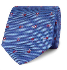 Turnbull & Asser Floral-Embroidered Silk Tie