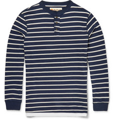 Mollusk Slim-Fit Striped Cotton-Jersey Henley T-Shirt